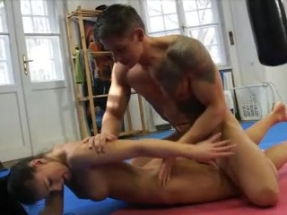 Girls get bi in ass to mouth threesome
